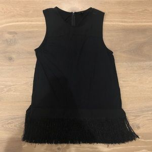 J. Crew black sleeveless top with fringe bottom